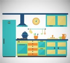彩色厨房设计矢量素材