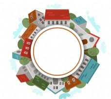 创意建筑组合圆形矢量素材