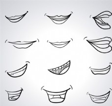手绘嘴部设计矢量素材