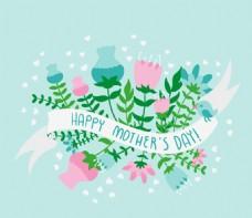 卡通母親節花卉與絲帶