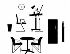 桌椅 门 剪影