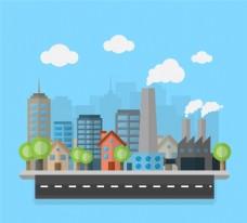 创意城市建筑插画矢量素材
