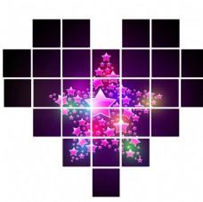 爱心拼接素材 27个正方形