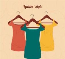 时尚女士连衣裙矢量素材
