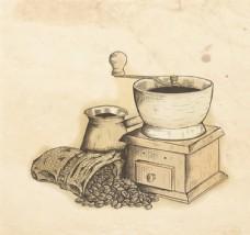 手繪研磨咖啡機矢量素材