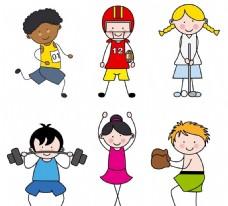 卡通儿童锻炼矢量图