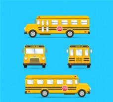 黄色校车设计矢量图