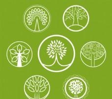 7款圓形樹木圖標