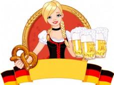 慕尼黑啤酒節女郎矢量圖