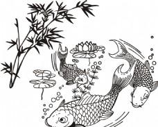 竹子 鲤鱼 年年有余