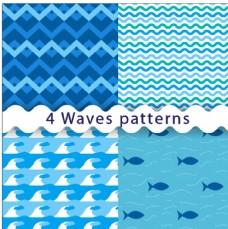 波浪和鱼图案