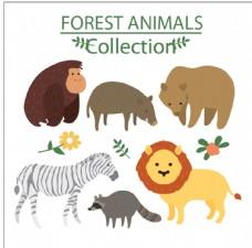 手绘可爱的野生动物