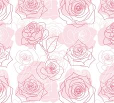 手绘玫瑰无缝背景矢量素材