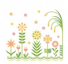 清新花丛设计矢量素材