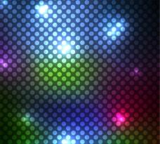 霓虹色圆点无缝背景矢量图