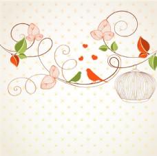 花枝上的情侣鸟矢量图