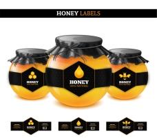 黑色蜂蜜标签矢量素材