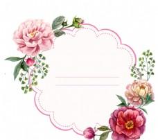 水彩牡丹花装饰标签矢量素材