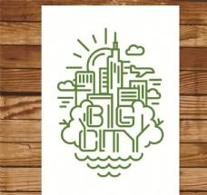 绿色都市卡片矢量素材
