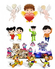 卡通人物与卡通动物