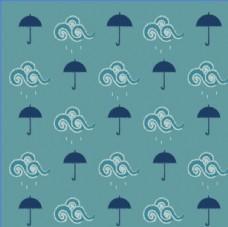 灰蓝雨云和伞背景素材