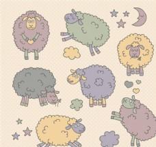可爱手绘绵羊矢量素材