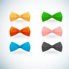 彩色蝴蝶结领结矢量图