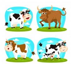 卡通牛设计矢量图