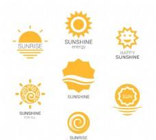 黄色太阳标志矢量素材