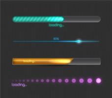 彩色进度条设计矢量图