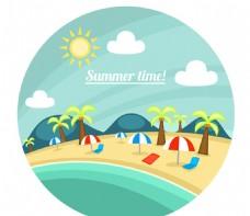 圆形沙滩风景插画矢量素材
