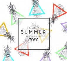 夏日菠萝无缝背景矢量图