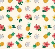 热带水果与花卉矢量素材