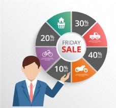商务男子与周五销售图表矢量素材