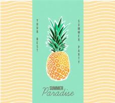 创意菠萝夏日派对海报矢量图