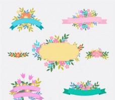 花卉装饰丝带矢量素材