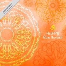 橙色水彩背景曼荼罗