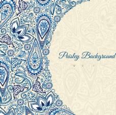 蓝色素描花香背景