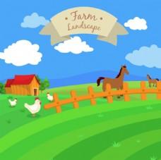 手绘农田景观与动物