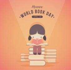 可爱的女孩读一本书的背景