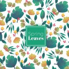 春天的背景与手绘的树叶