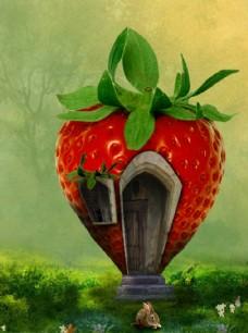童话草莓小居图片背景