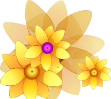 手绘金色花矢量图