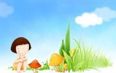看蘑菇的小女孩海报背景
