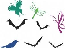 蝴蝶 蜻蜓 蝙蝠剪影