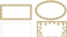 古典花边框 金色花纹