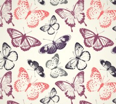 色缤纷蝴蝶无缝背景