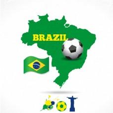 巴西本国国旗和足球