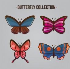 四种颜色的蝴蝶