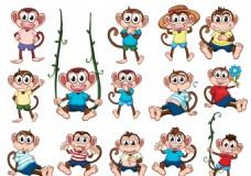 14款卡通猴子矢量素材